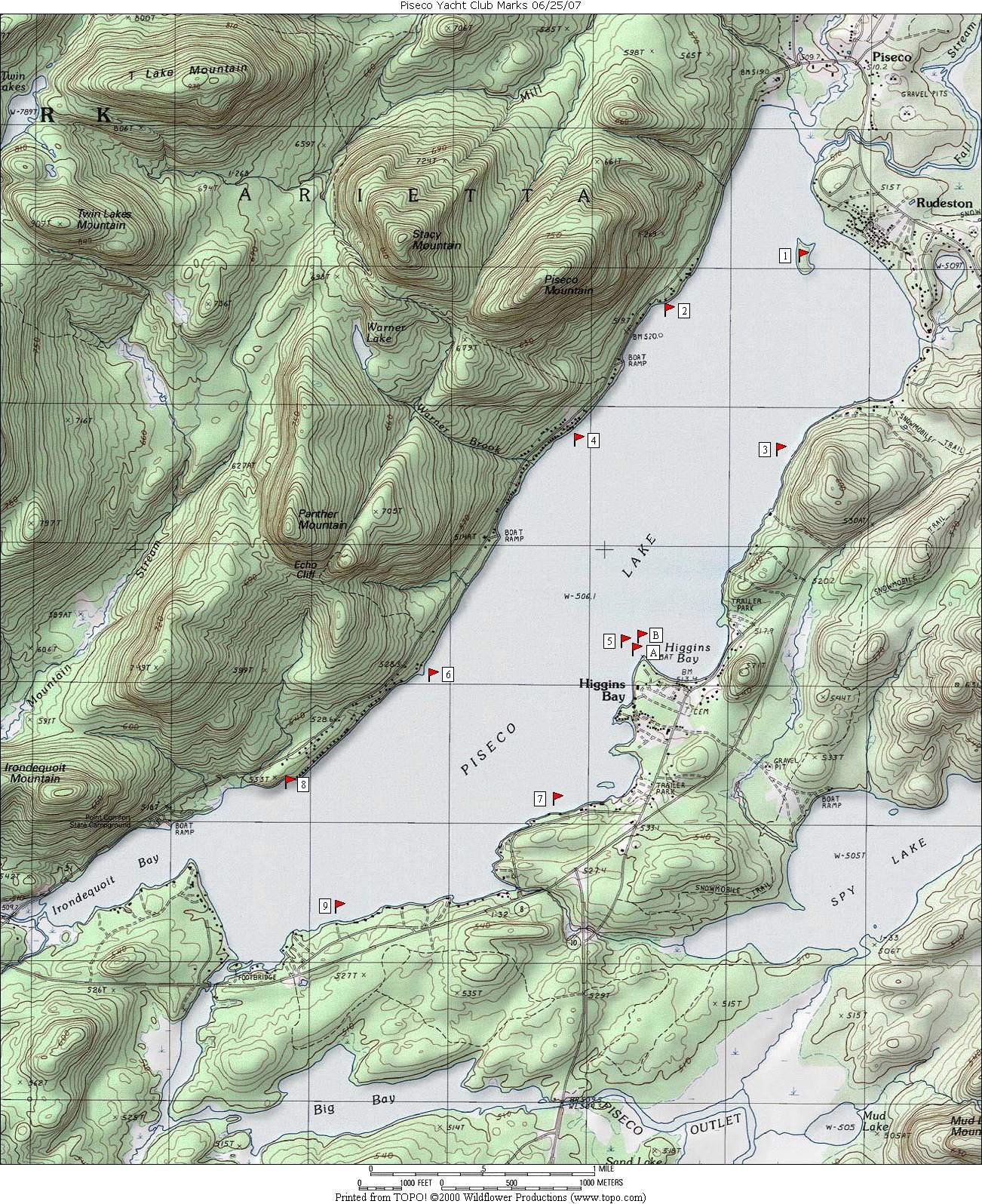 Piseco Yacht Club - Marks lake maps