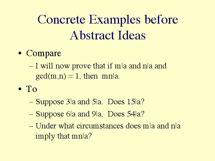 concrete examples before abstract ideas
