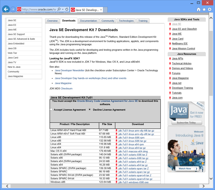 Installing Java 7 and Eclipse on Windows